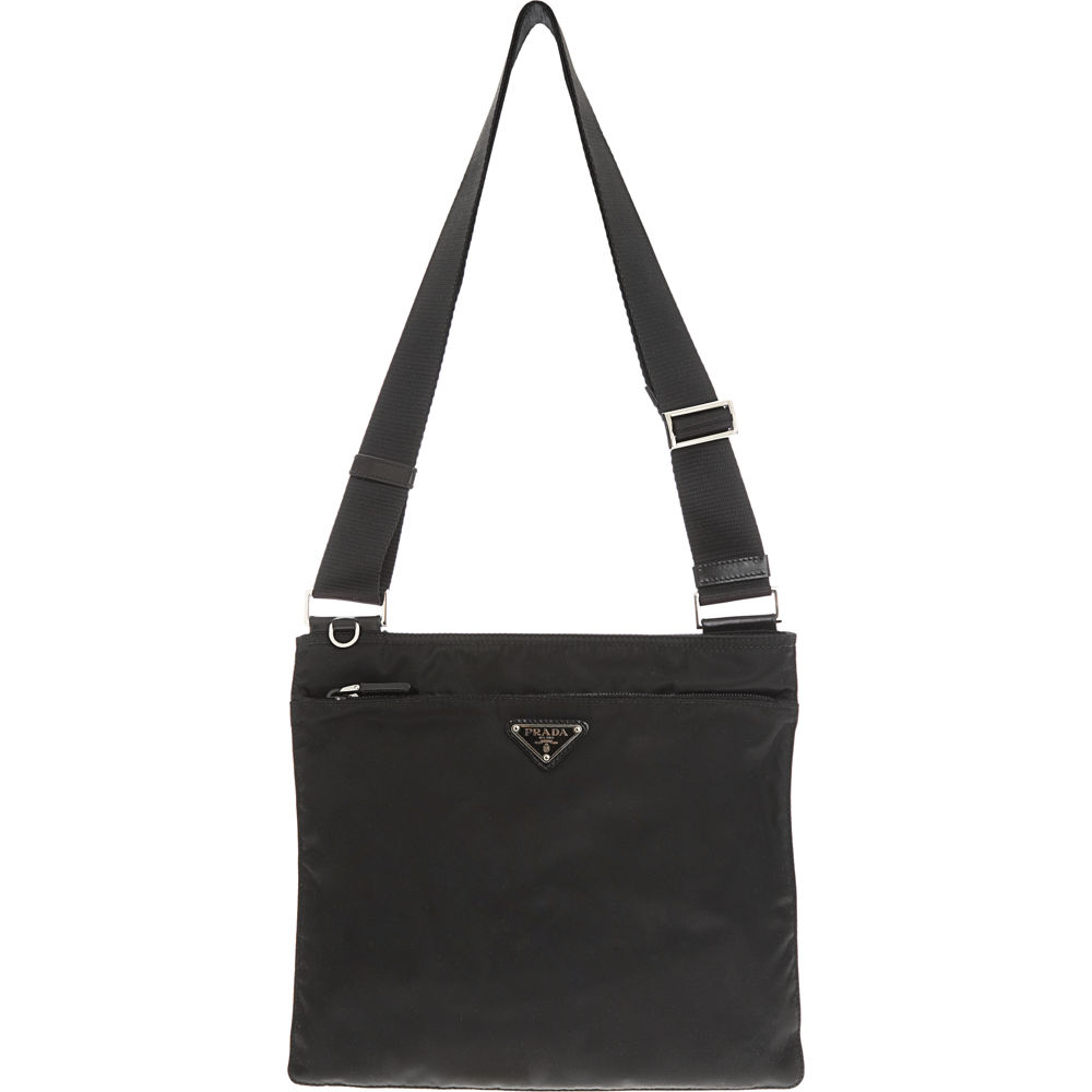 Prada Vela Flat Messenger Bag in Black | Lyst - Prada messenger bag black