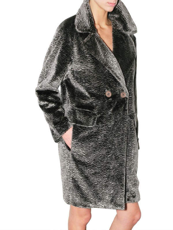 See By Chlo 233 Astrakhan Fur Coat In Gray Lyst