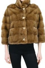 Simonetta Ravizza Short Mink Gathered Back Fur Coat - Lyst