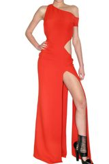 Versace Silk Cady Long Dress in Red - Lyst