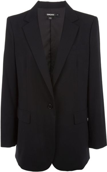 Dkny Single Breasted Blazer in Black - Lyst