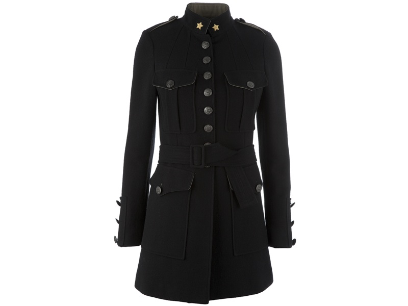 femme military style trench coat in black lyst. Black Bedroom Furniture Sets. Home Design Ideas