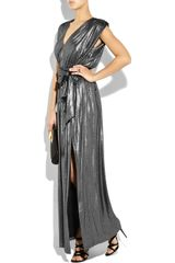 Halston Heritage Belted Lamé Maxi Dress in Silver - Lyst