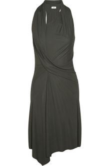 Helmut Lang Asymmetric Draped Crepe-jersey Dress - Lyst