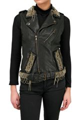 Jo No Fui Nappa Leather Embroidery Vest - Lyst