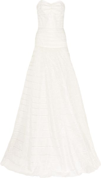 Lela Rose Strapless Embroidered Silkorganza Gown in White (ivory) - Lyst