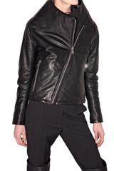 Maison Martin Margiela Structured Collar Leather Jacket - Lyst