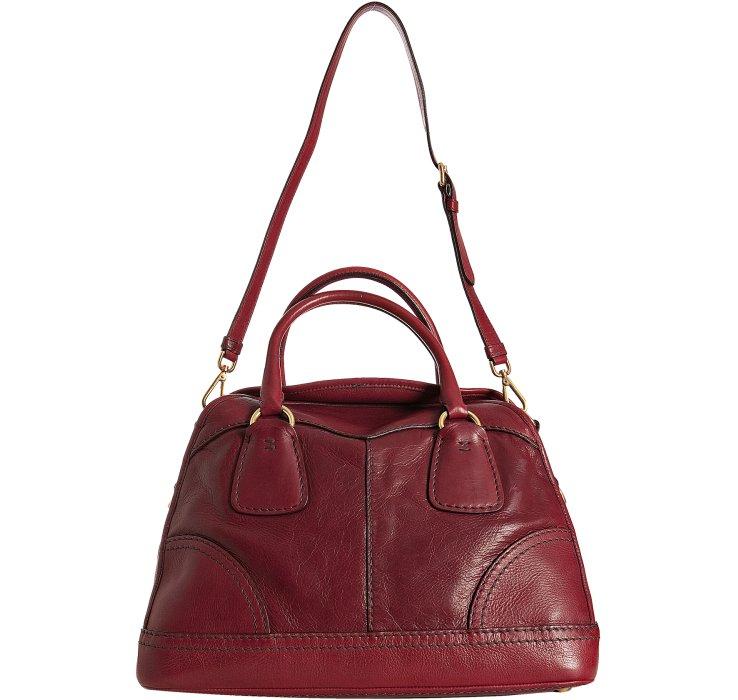 Prada Amaranth Deerskin Bauletto Bowler Bag in Red   Lyst