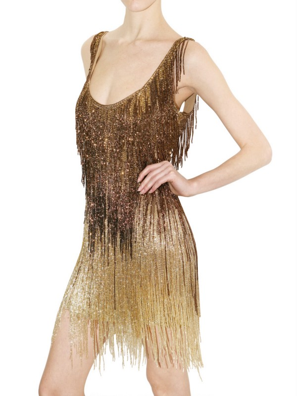 Roberto Cavalli Embellished Fringed Dress In Gold Bronze