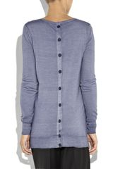 Stella Mccartney Buttonedback Wool Sweater in Blue - Lyst