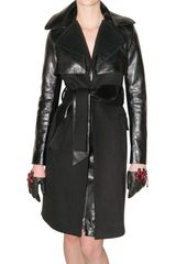 DSquared2 Wool and Leather Trench Coat - Lyst