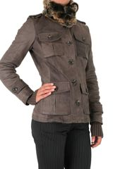 Gold Bunny Murmaski Collar Leather Jacket in Brown (taupe) - Lyst