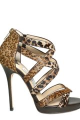 Jimmy Choo 120mm Leopard Printed Pony Sandals - Lyst