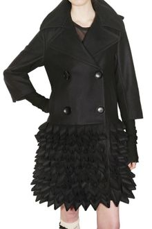 John Rocha Wool Felt Ruffled Coat - Lyst