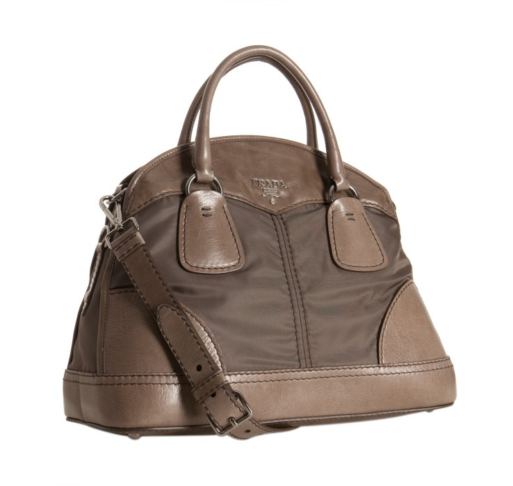 prada cross body bag sale - Prada Smoke Vitello Shine and Nylon Bauletto Bowler Bag in Gray ...