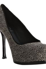 Yves Saint Laurent Black Stripe Pony Hair Tribtoo 60 Platform Pumps - Lyst