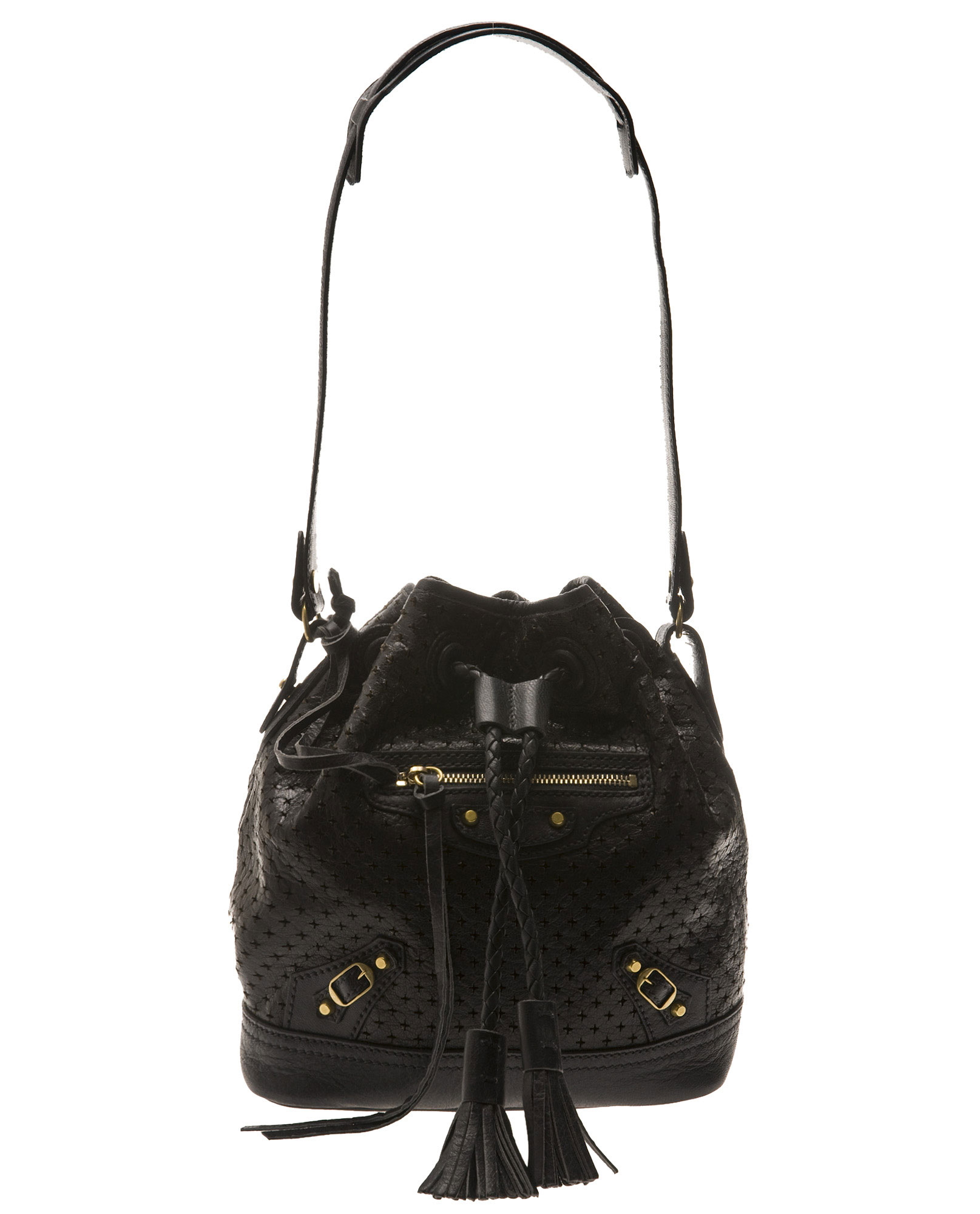 10c99cce9 Balenciaga Pampille Bucket Bag in Black - Lyst
