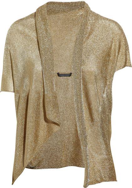 Gold Metallic Cardigan Shrug - Cardigan With Buttons