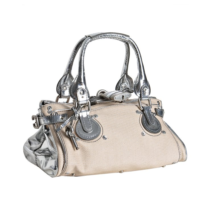 Chlo¨¦ Natural Canvas and Silver Leather Paddington Small Shoulder ...