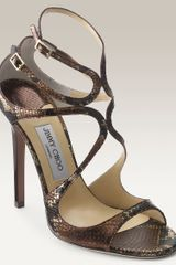 Jimmy Choo Lance Snakeskin Embossed Leather Sandal - Lyst