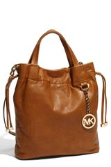 Michael by Michael Kors Medium Leather Drawstring Tote - Lyst
