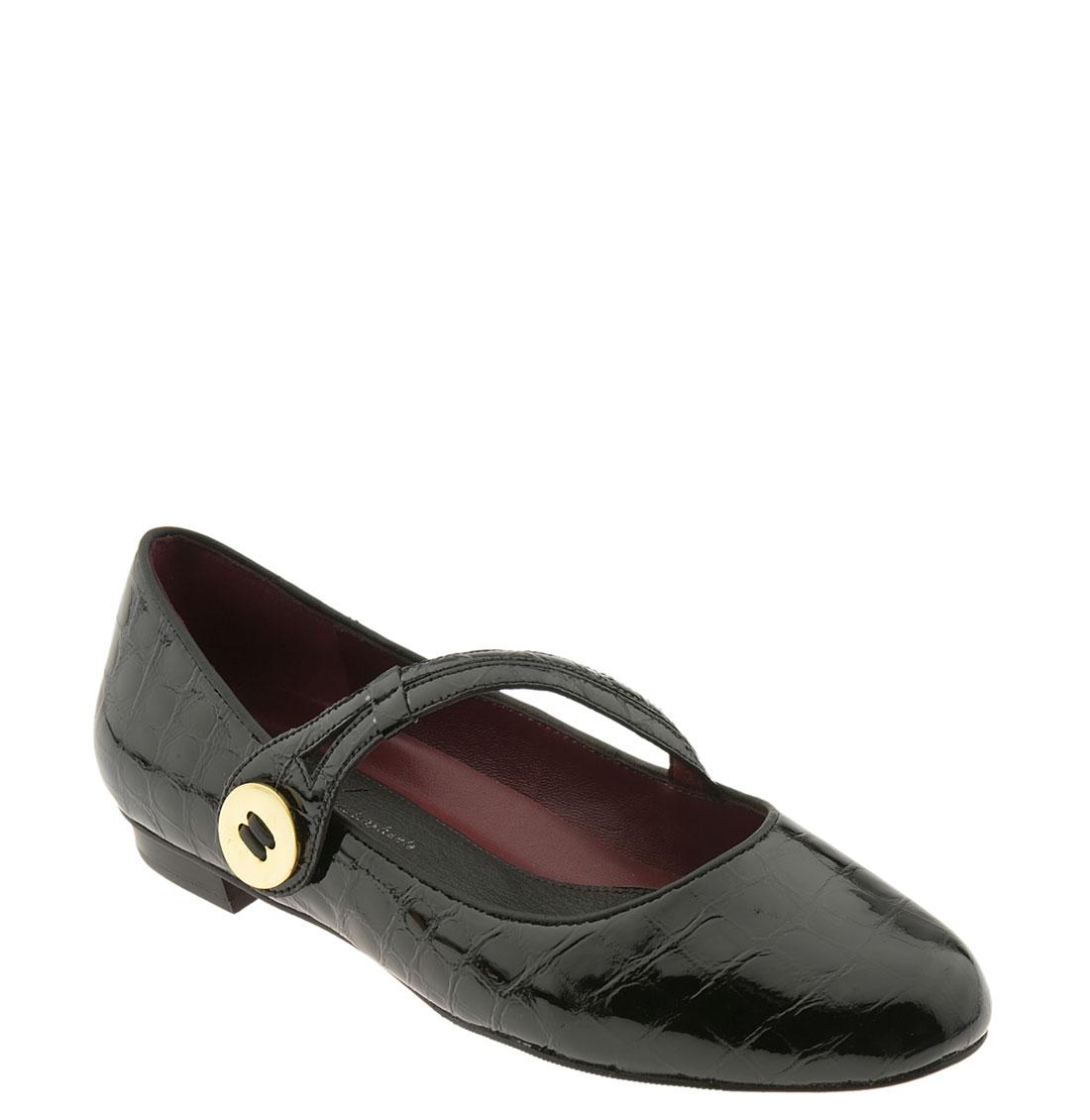 Oh! Shoes Franka Mary Jane Flat in Black (black croco ...