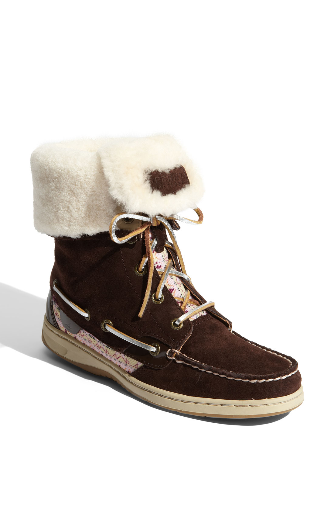 sperry top sider snug harbor shearling lined boot in brown