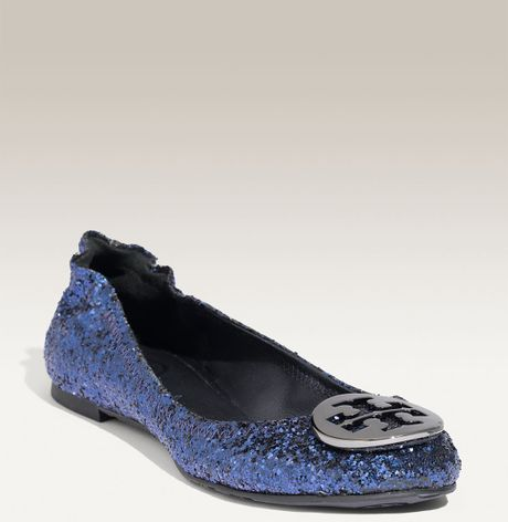 tory burch reva glitter ballerinas in blue navy lyst. Black Bedroom Furniture Sets. Home Design Ideas