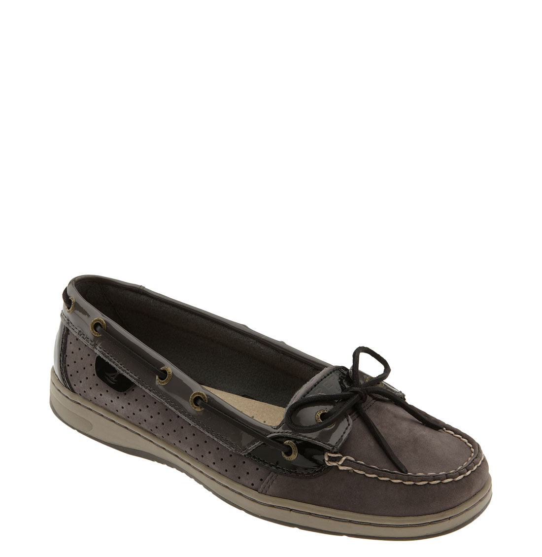 Sperry Top Sider Angelfish Boat Shoe In Black Graphite Suede