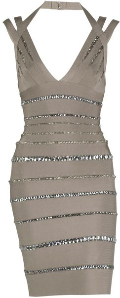 Hervé Léger Crystal Link Bandage Dress in Gray (grey) - Lyst