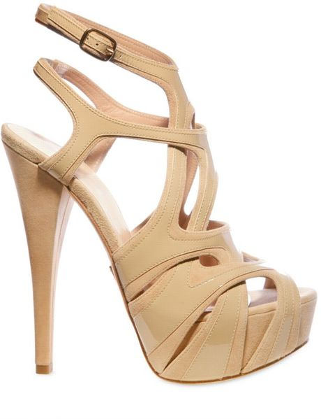 Alejandro Ingelmo 140mm Patent Overlayed Suede Cage Sandal in Beige (nude) - Lyst