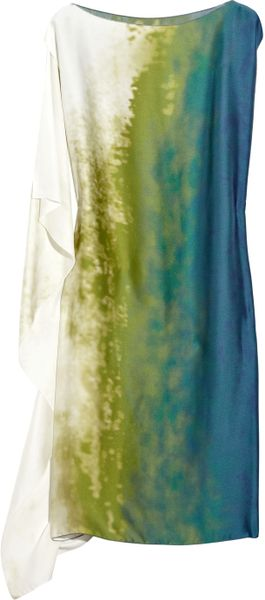Bottega Veneta Printed Silk Asymmetric Tunic Dress in Green - Lyst
