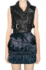 Burberry Prorsum Cropped Leather Biker Vest - Lyst