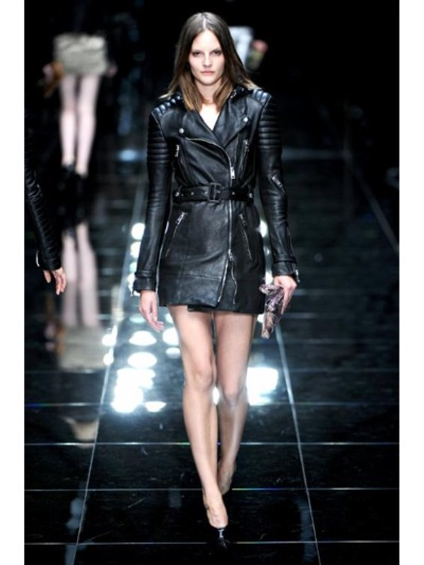 Lyst Burberry Prorsum Long Biker Leather Jacket In Black