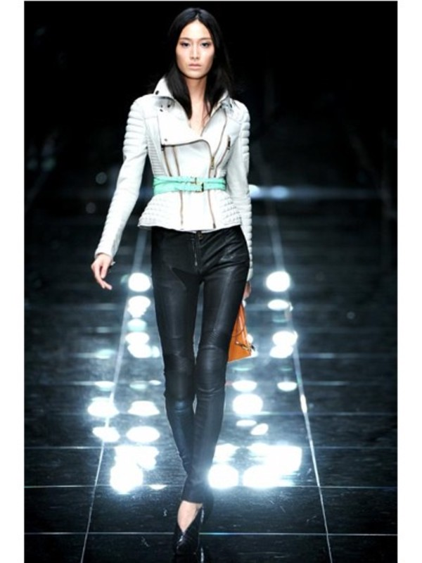 Lyst Burberry Prorsum Quilted Biker Leather Jacket In White