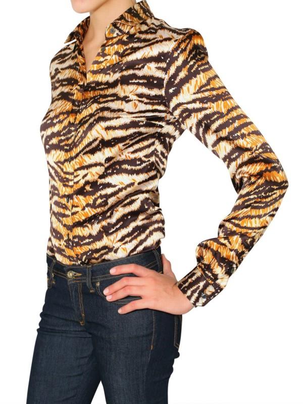 aa6423ed8e7 Lyst - Dolce   Gabbana Tiger Print Stretch Satin Shirt