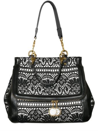 Dolce & Gabbana Lace and Leather Top Handle - Lyst