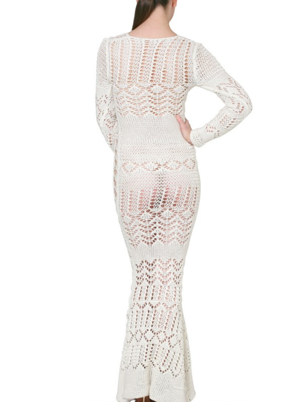 Emilio Pucci Long Crochet Dress In White Lyst