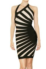 Hervé Léger Engineered Diagonal Banding Dress in Black - Lyst