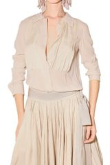 Lanvin Pleated Stretch Crepe Voile Shirt - Lyst