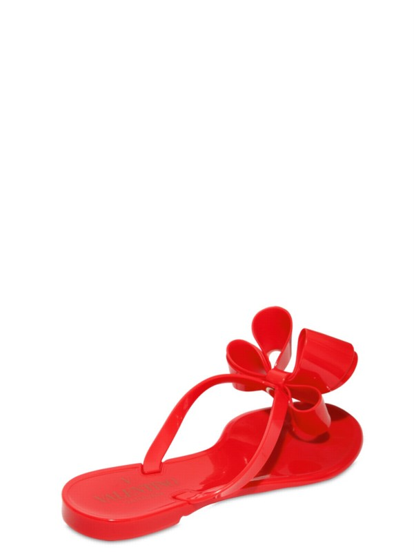 Valentino Jelly Bow Flip Flop Flats In Red - Lyst-7091