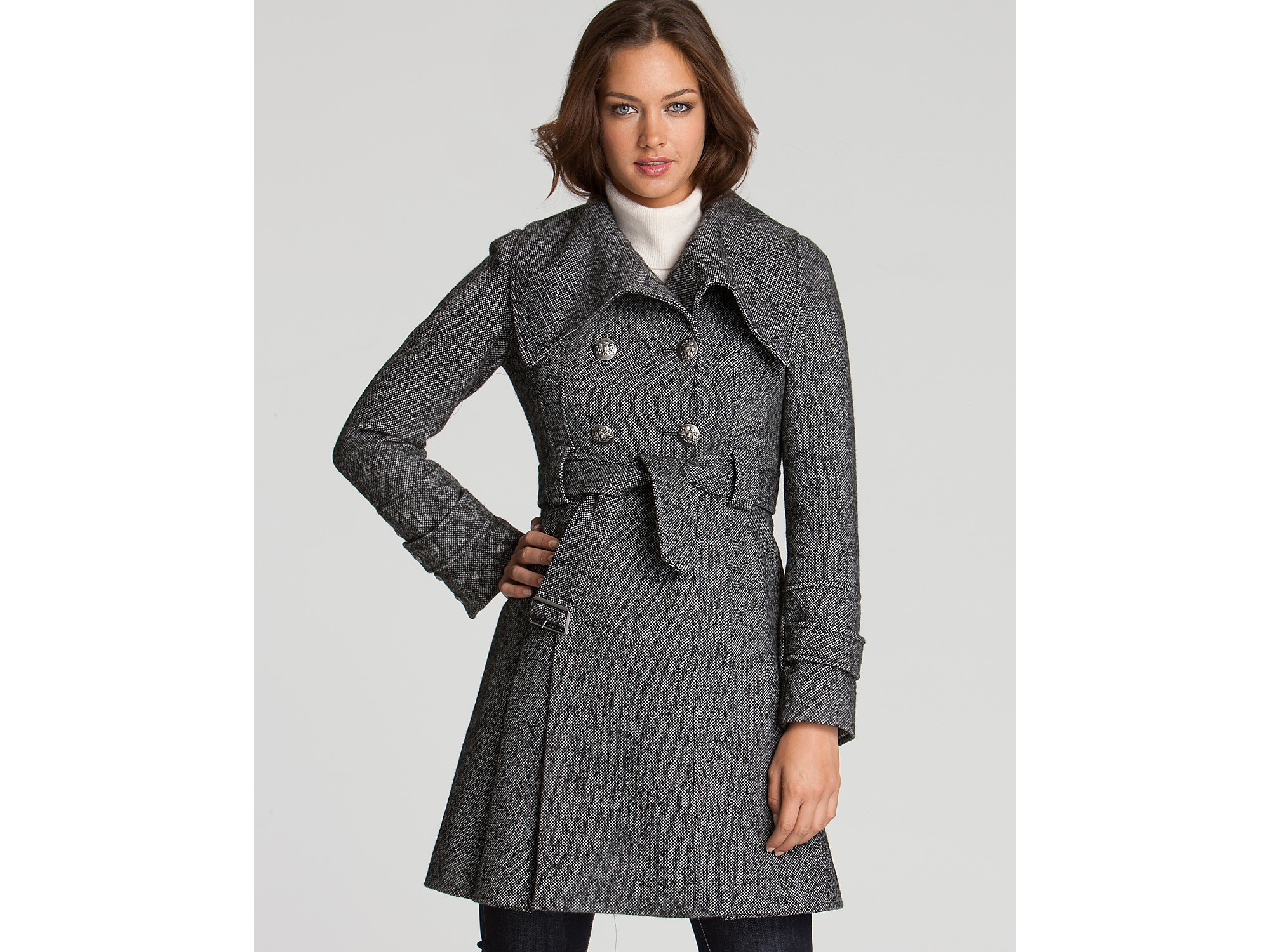 Guess Double Breasted Military Coat In Gray Black White