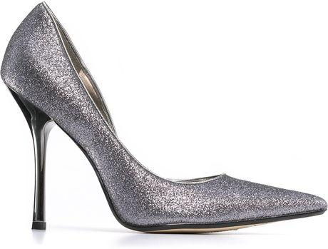 Guess Carrie Glitter Pumps In Silver Pewter Glitter Lyst