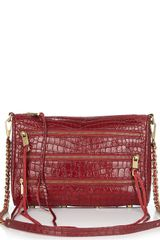Rebecca Minkoff Three Zip Croc-embossed Leather Crossbody/clutch - Lyst
