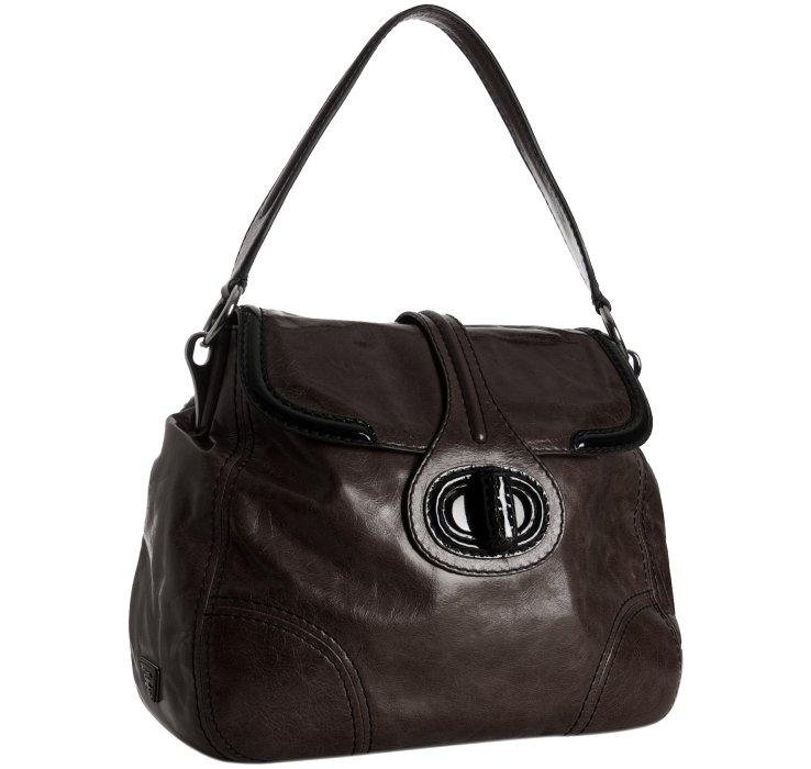 42e5e75883 Lyst - Prada Dark Brown Calfskin Turnlock Shoulder Bag in Brown