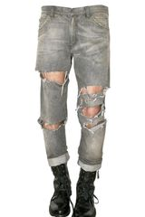 Balmain Destroyed Denim Cropped Jeans - Lyst