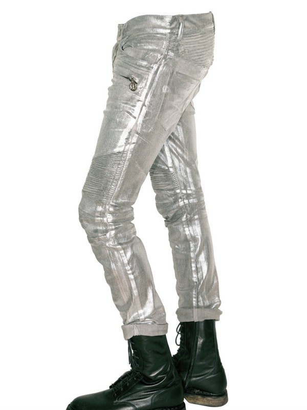 Balmain Stretch Denim Cropped Biker Jeans in Metallic for Men  Lyst