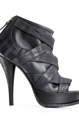 Elizabeth And James Miki Inner Sock Peeptoe Booties in Black - Lyst
