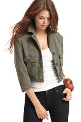 James Perse Cotton Cropped Military Jacket - Lyst