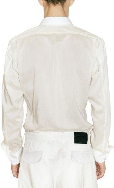 John Galliano Plastron Cotton Silk Satin Shirt In White